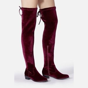 Burgundy Dark Red Over the Knee Boots